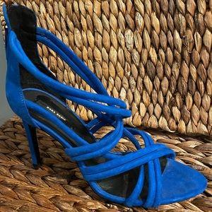 Zara Basic Strappy Blue Velvet High Heal Size 41